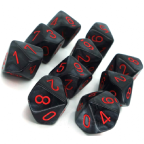 Black & Red Velvet D10 Ten Sided Dice Set